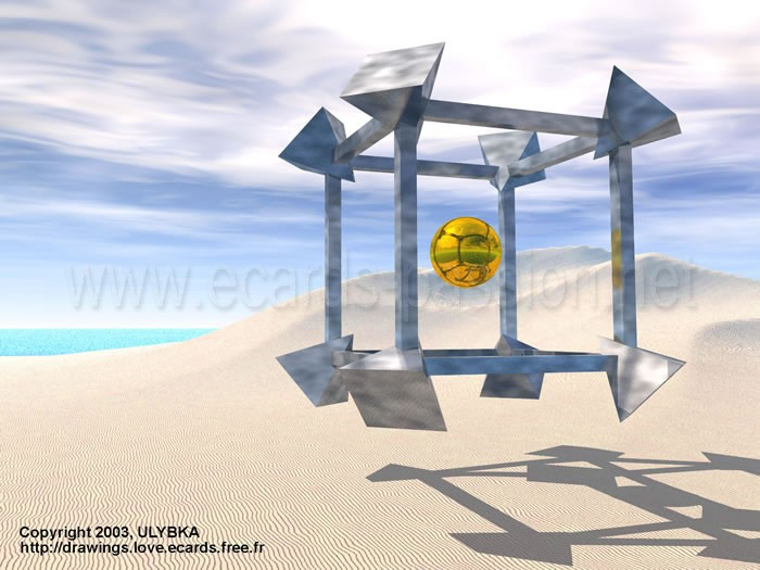 sphere hanging in a cube in the desert; beginning of life; creation and genesis