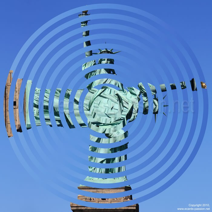 rotated statue; balance; fragility; different interpretations of liberty
