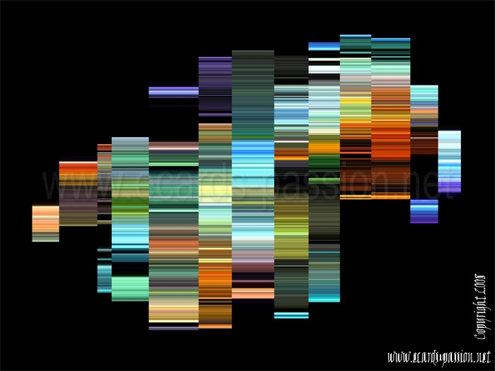 abstract art; colorful; extended lines; bar code
