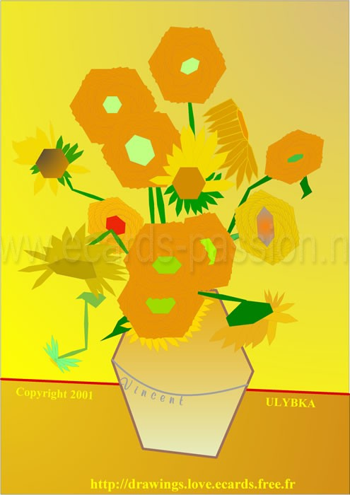 hexagonal version of painting of Vincent Van Gogh; yellow composition with sun flowers and vase