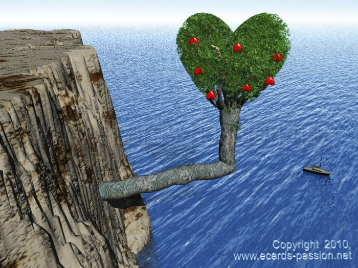 tree with red hearts as fruits; cliff and sea view; fragility of love