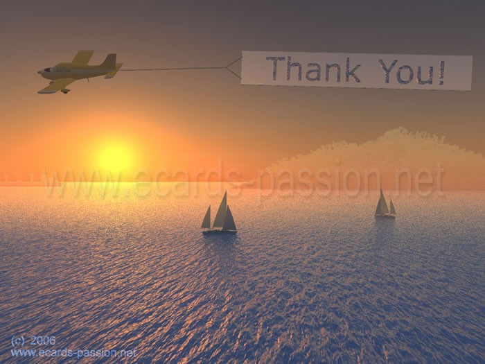aircraft; airplane flying over water; sailboat; sailing; sunset; thank you; thanks