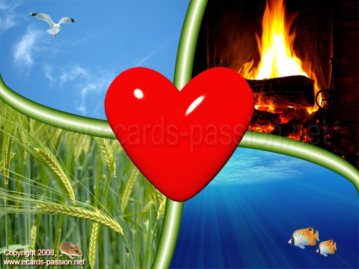 fresh air; blue sky; flying bird; Mother Earth; burning fire; exotic fishes; heart; life; love; blue ocean water; growing wheat