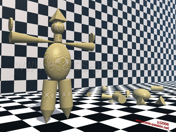 balance and imbalance; chessboard with dummy of crash test; scientific experiences; success and failure; fallen model; illusion and reality; standing puppet in wood