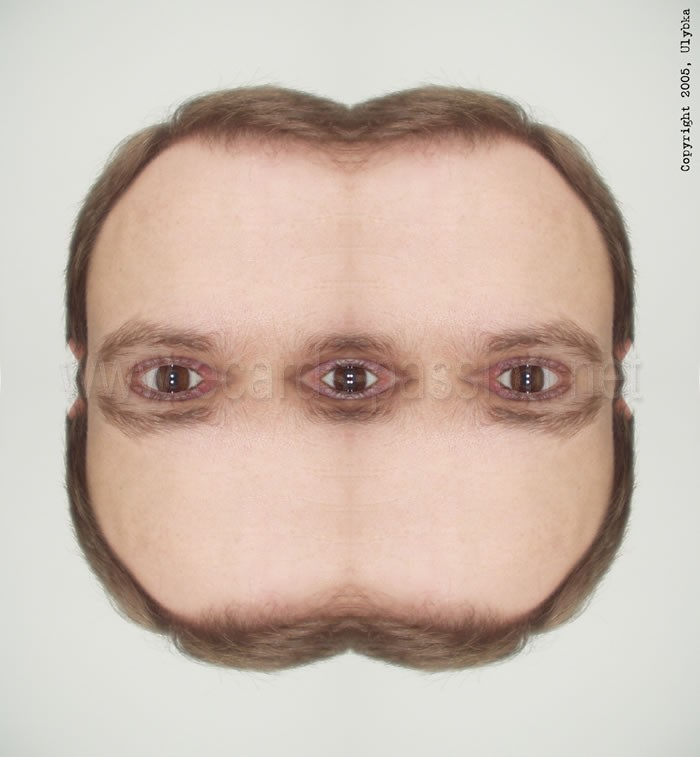 three eyes watching you; symmetrical face