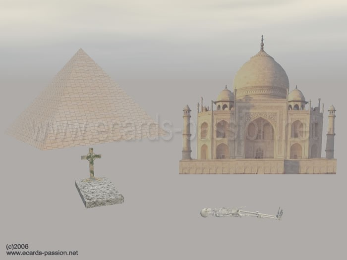 tombs and graves in various cultures: Egypt, India, Europe; buried dead; Christian cross; various sepultures and monuments in the world; skeleton on the ground