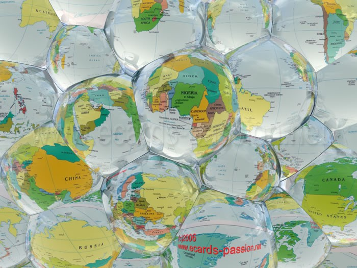 atlas of continents and countries; difference; distortion; glass; plastic bubbles; world map