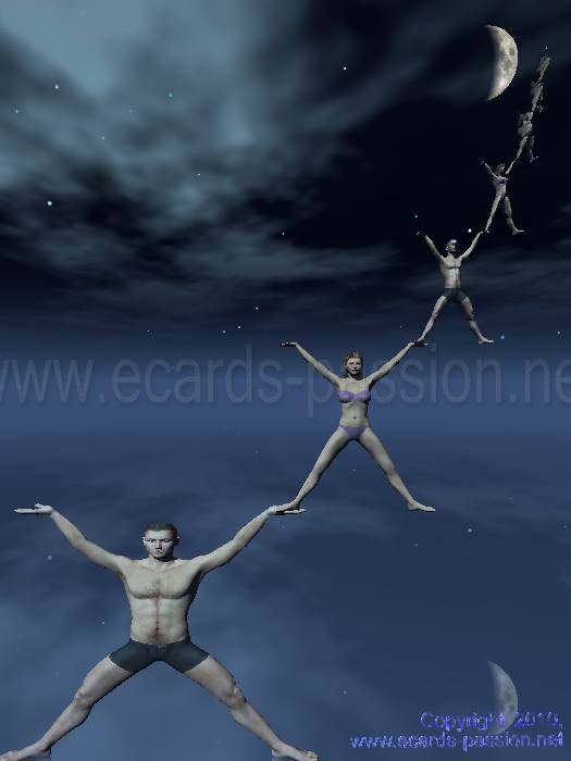 men and women together reaching the moon; all together we are stronger
