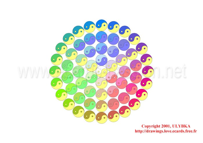 цветных сфер forming a cube; red, green, blue (RGB) colors; yin and yang